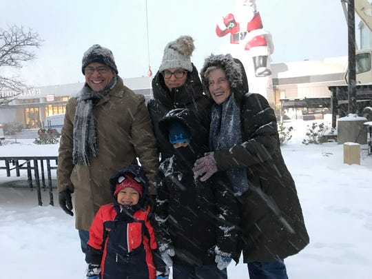 Jason Plata, Stephanie Plata and Marise Brito with Mathew and Nathaniel Plata at the Garden State Plaza mall before the Big Santa lighting ceremony was cancelled Thursday.