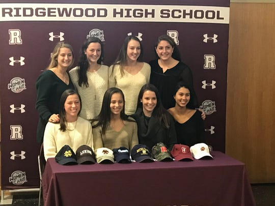 Ridgewood girls lacrosse signees from Nov. 14, 2018. FRONT ROW, from left: Kaitlin Devir (Boston College), Jacquelyn Wolak (Notre Dame), Casey Haas (Rutgers) and Marley Scala (Lafayette). BACK ROW, from left: Olivia Derrico (Notre Dame),  Molly Dunphey (Villanova), Annie McCarthy (Lehigh) and Kara Rahaim (Stanford).