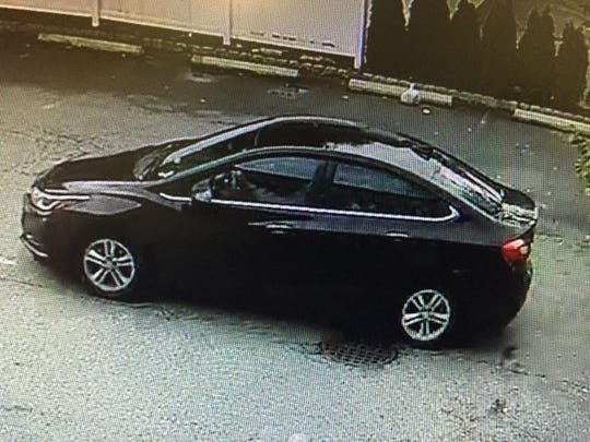The man accused of robbing a Hackensack Valley National Bank is believed to have gotten in this car and driven away from the scene.
