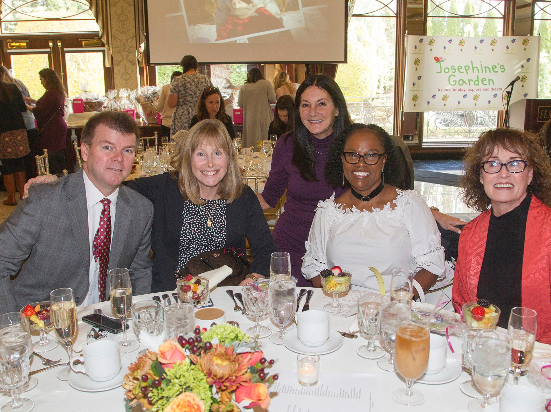 Dan Foley, Mary Foley, Sue Gerson, Ceslyn Beckford,  Pam Donovan. Josephine's Garden, part of Hackensack Meridian Health, held its luncheon gala at Season's in Washington Township. The mission of this organization is to provide a place of respite, joy and hope to children battling cancer. 11/14/2018