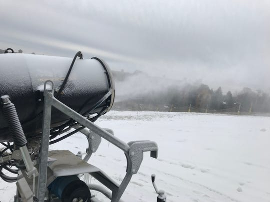 Snowmaking machines run at Mountain Creek in Vernon on Nov. 15. An expected 3 to 4 inches of natural snow was expected to drop in the area later in the day.