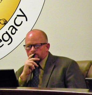 Alamogordo Public Schools Acting Superintendent Jerrett Perry during an APS School Board meeting Wednesday night.