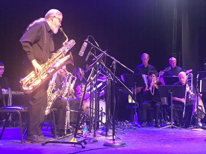 Jim Mack wails on the baritone sax during a number from the Otero Jazz Orchestra's semiannual concert, held at the Flickinger Center on Wednesday evening.