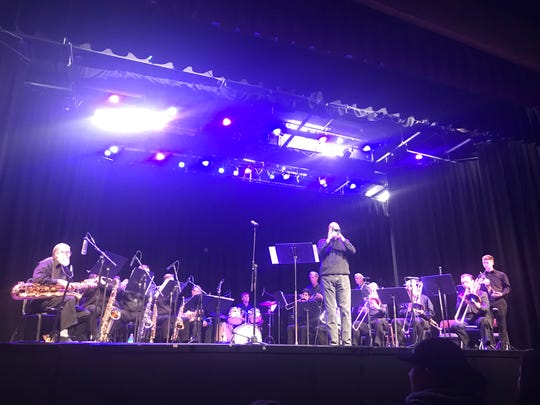 NMSU-A president and trumpet player Dr. Ken Van Winkle takes center stage for a solo during the Otero Jazz Orchestra's concert.