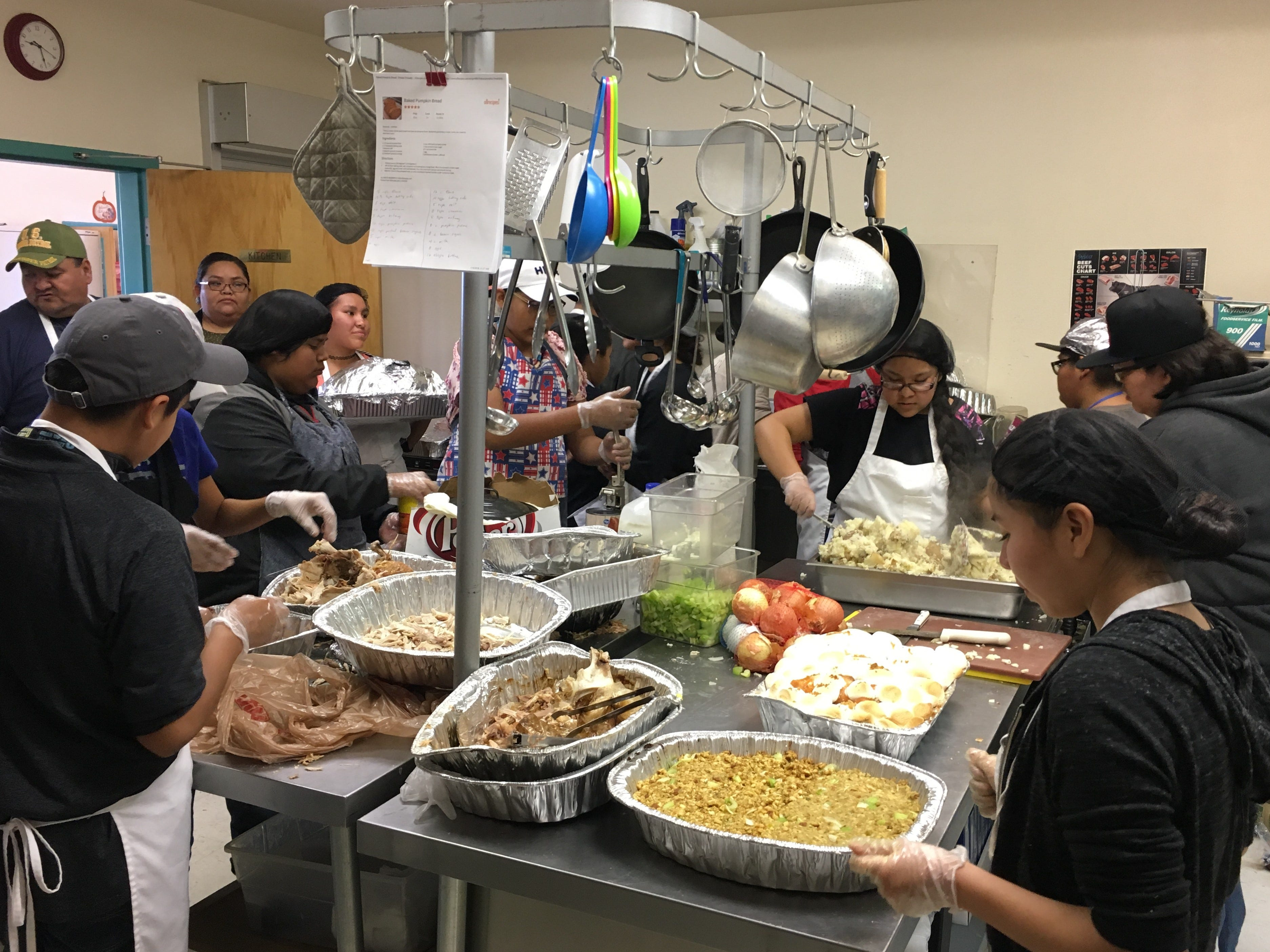 This was the sixth year Tsé Bit A'í Middle School students put together a Thanksgiving dinner for elderly community members at the Shiprock Senior Citizen Center in Shiprock.