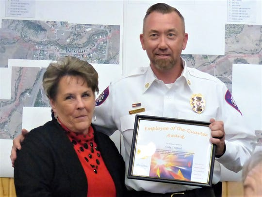 Ruidoso Fire Chief Cody Thetford received the Public Safety Award. Village Manager Debi Lee said his compassion was an example to all to follow.