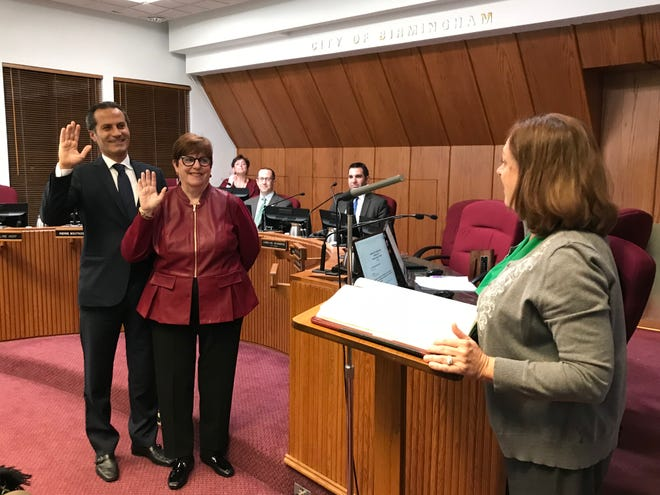 Mayor Patty Bordman and Mayor Pro Tem Pierre Boutros are sworn into office at the Birmingham City Commission meeting Nov. 12.