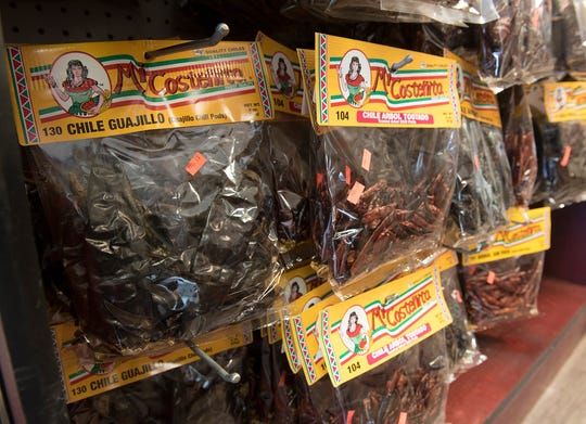 There are a wide variety of dried chiles and other spices at Super Mercado El Jalisco.
