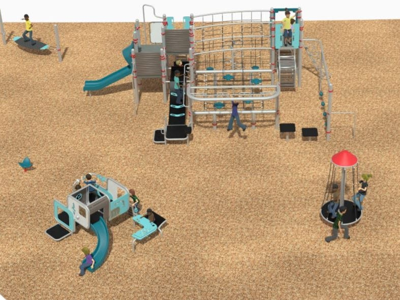 A rendering of the proposed playground at Pavilion Shore Park in Novi.