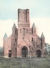 St. Landry Catholic Church, pictured in 1910, soon after the outside of the building was constructed.