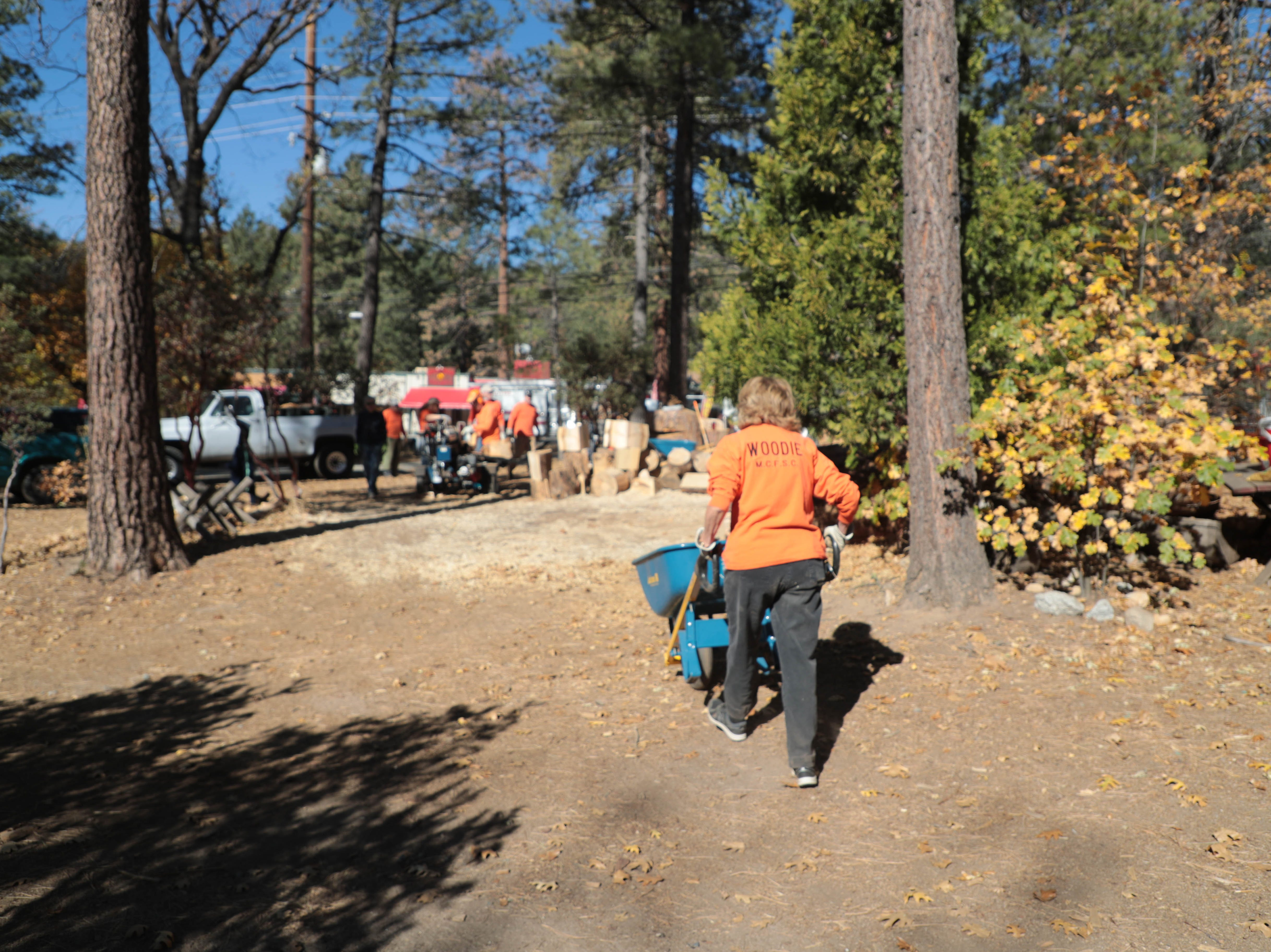 The Woodies, a group of seniors in Idyllwild, cut dead trees to make firewood on Friday, November 9, 2018. They Woodies are part of the Mountain Communities Fire Safe Council.