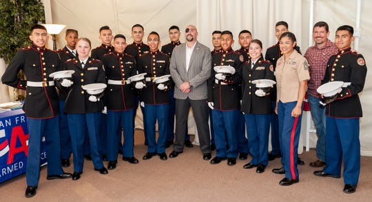 Gunnery Sergeant (retired) Nick Popaditch and Army Ranger (retired) and Security Contractor Kris Paronto with Desert Hot Springs ROTC Cadets who performed Colors Presentation during opening ceremony.