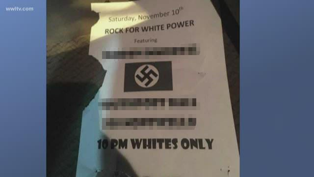 A racist, anti-Semitic flyer was printed and distributed near a New Orleans music hall Saturday with a Pensacola band's name attached. The band quickly condemned the flyer, its message and whoever made it.