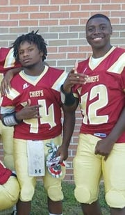 Northview High junior football player Dariontae Richardson, right, suffered a heart attack in his home the morning after the Chiefs won their first playoff game in six years.