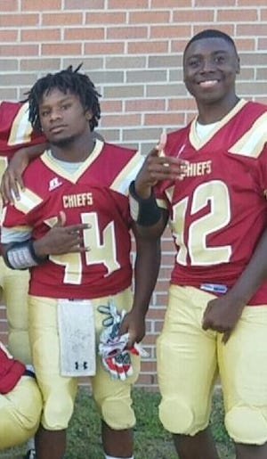Northview High football player Dariontae Richardson, right, suffered a heart attack on Saturday following his team's state playoff win.