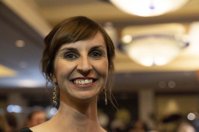 Kathy Hoffman, Arizona superintendent of public instruction candidate, talks to media at the Renaissance Phoenix Downtown Hotel on Nov. 6, 2018.