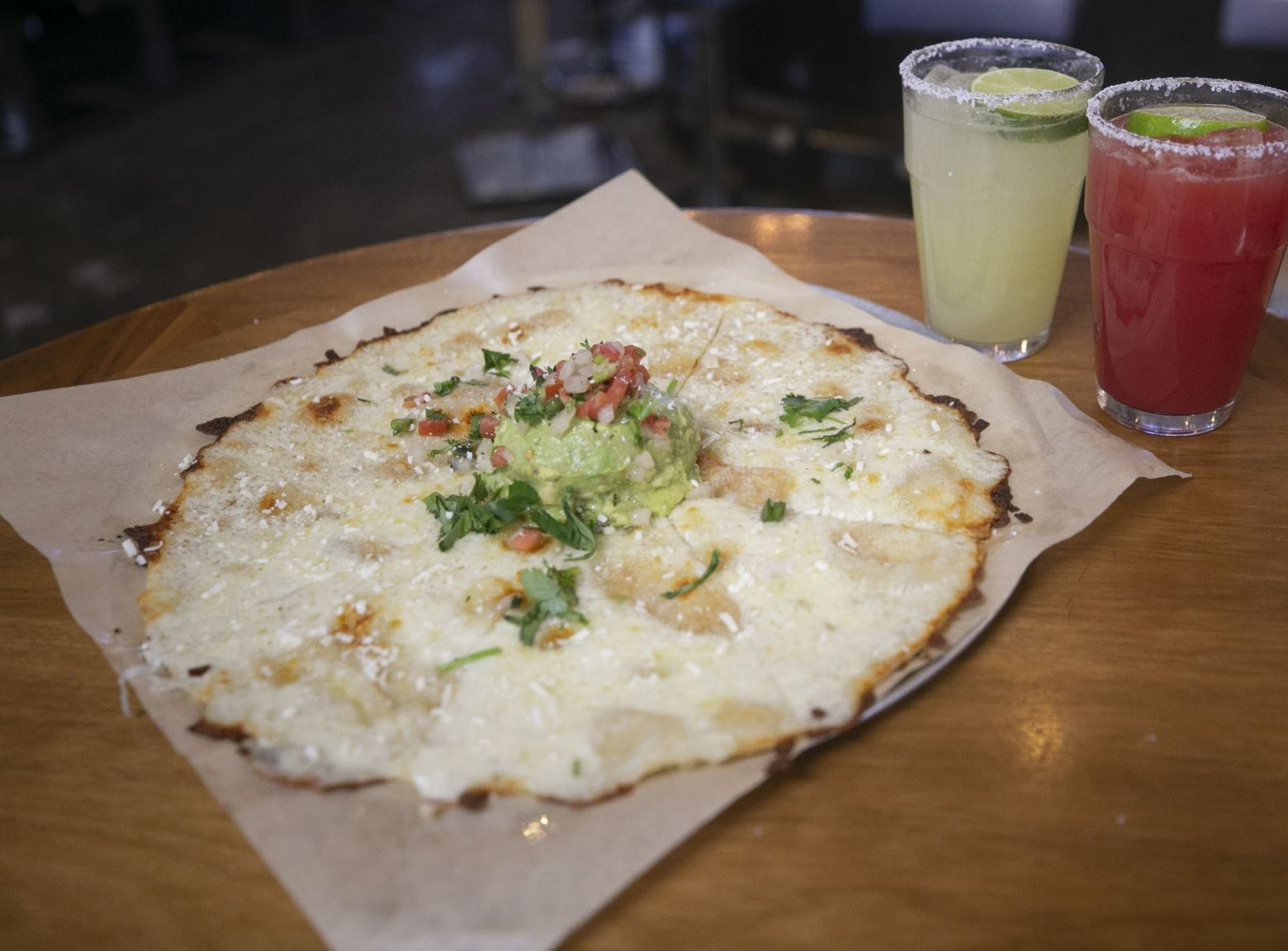 Cheese Crisp and a margarita at Blanco Tacos in Terminal Four of Phoenix Sky Harbor International Airport on Tuesday, November 13, 2018.