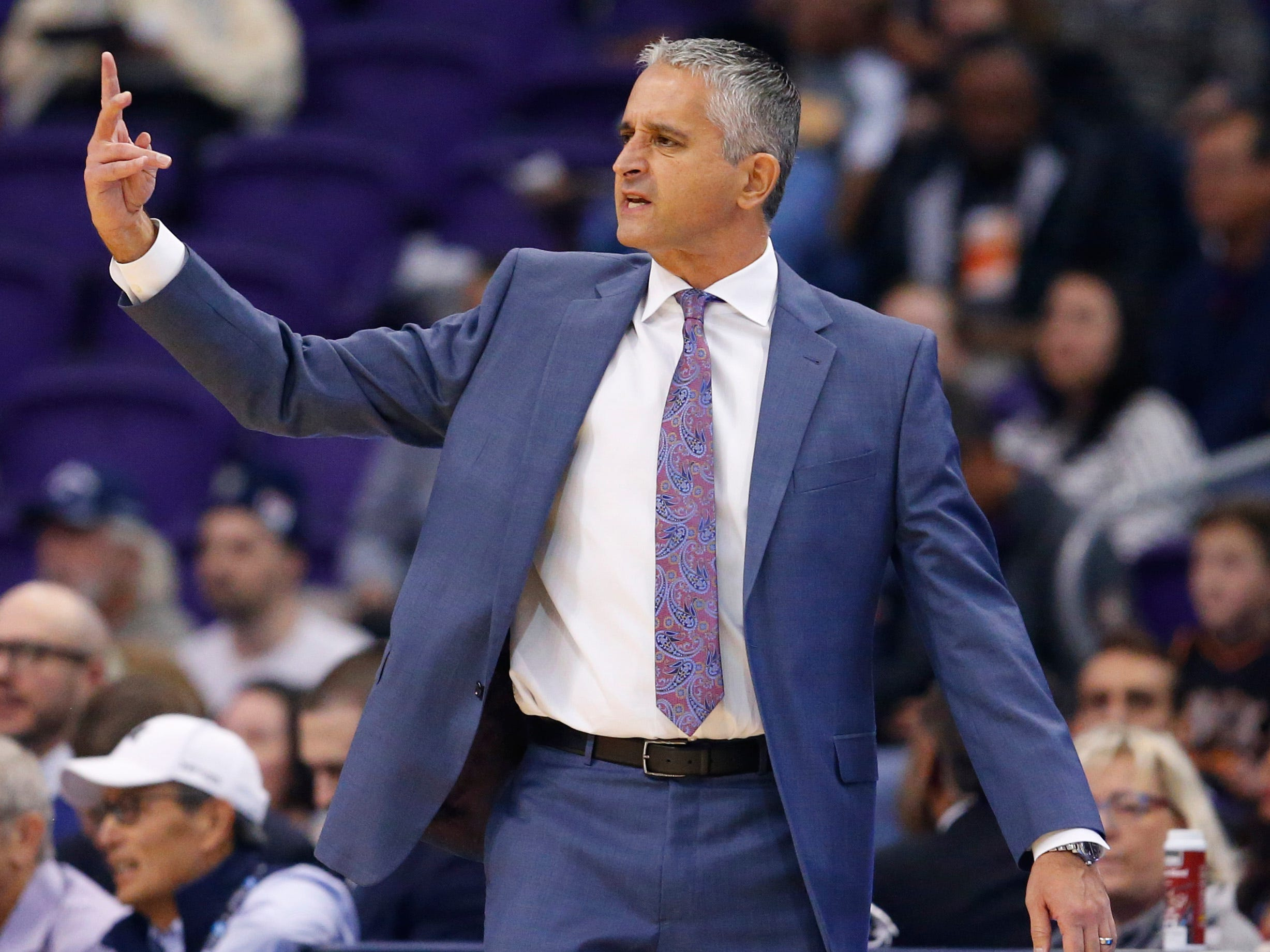 Phoenix Suns head coach Igor Kokoskov yells at his team during a NBA game against the San Antonio Spurs at Talking Stick Arena in Phoenix on November 14.