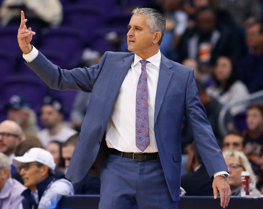 Suns first-year coach Igor Kokoskov directs his team during a game against the Spurs on Nov. 14 at Talking Stick Resort Arena.