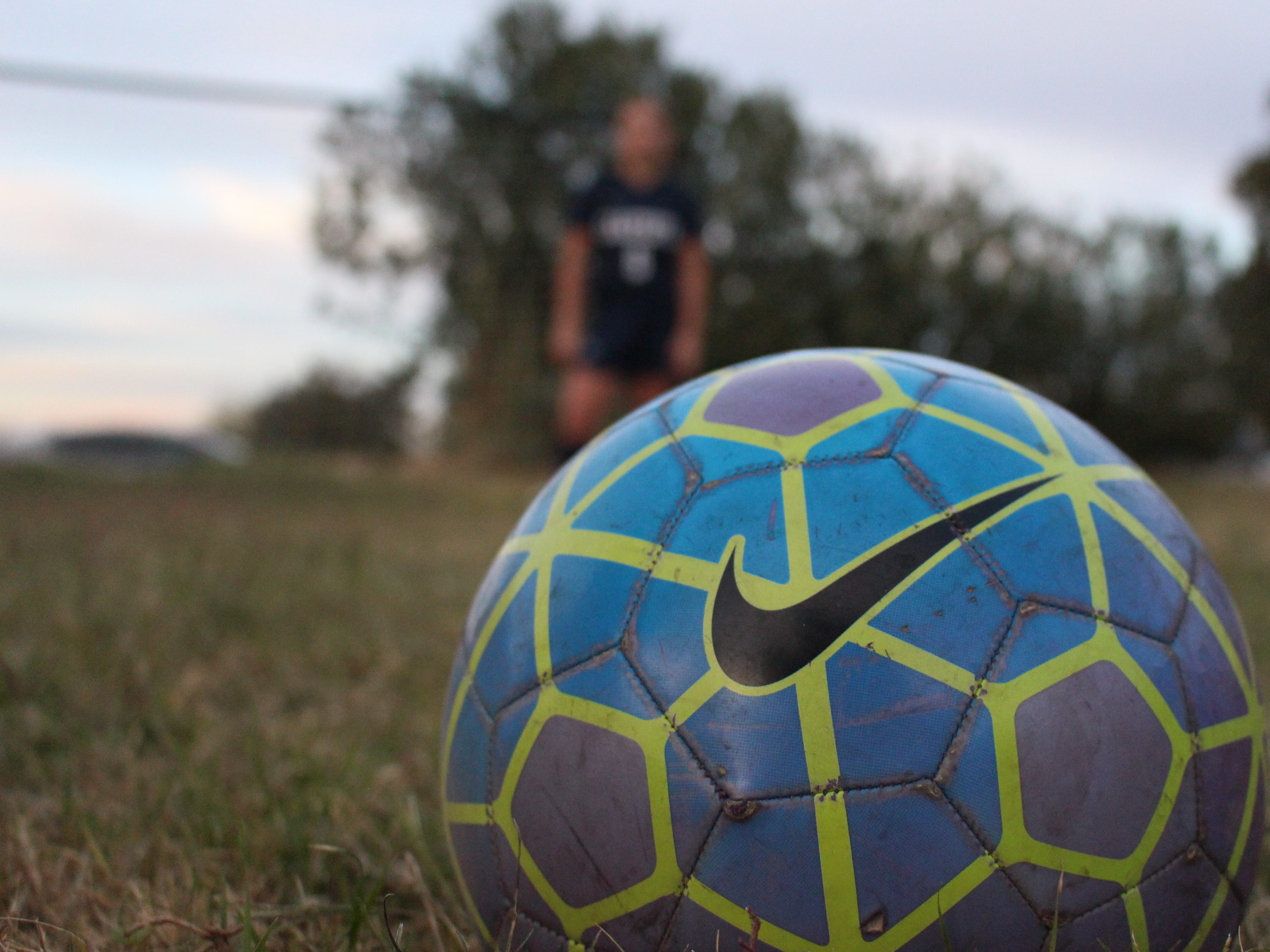 Casteel's Scarlett Frohardt stares at the soccer ball on Wednesday in Queen Creek on Nov. 14, 2018.