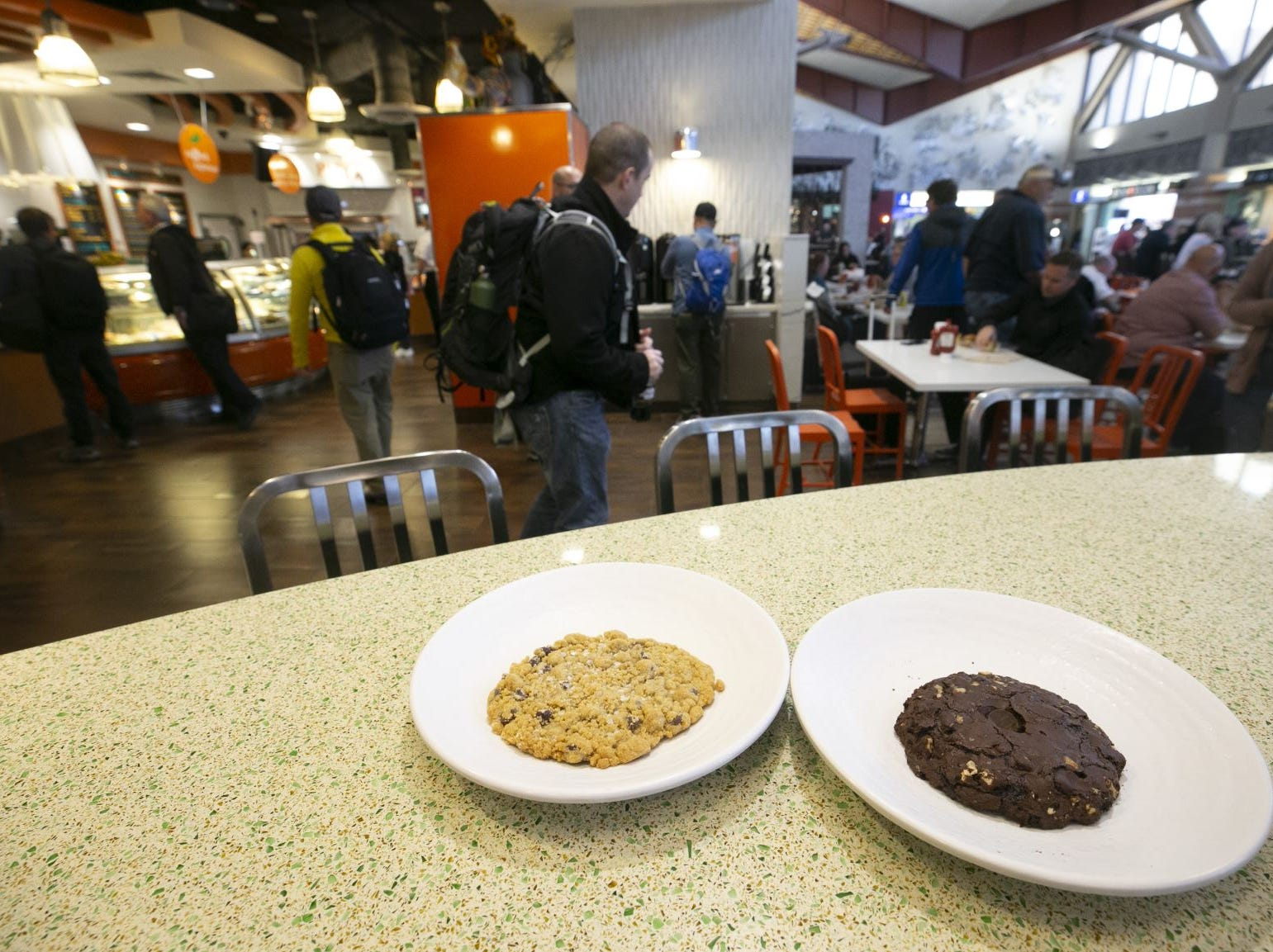 Salted Chocolate Chip Cookie (left) and Gulten Free Cookie at La Grande Orange in Terminal Four of Phoenix Sky Harbor International Airport on Tuesday, November 13, 2018.