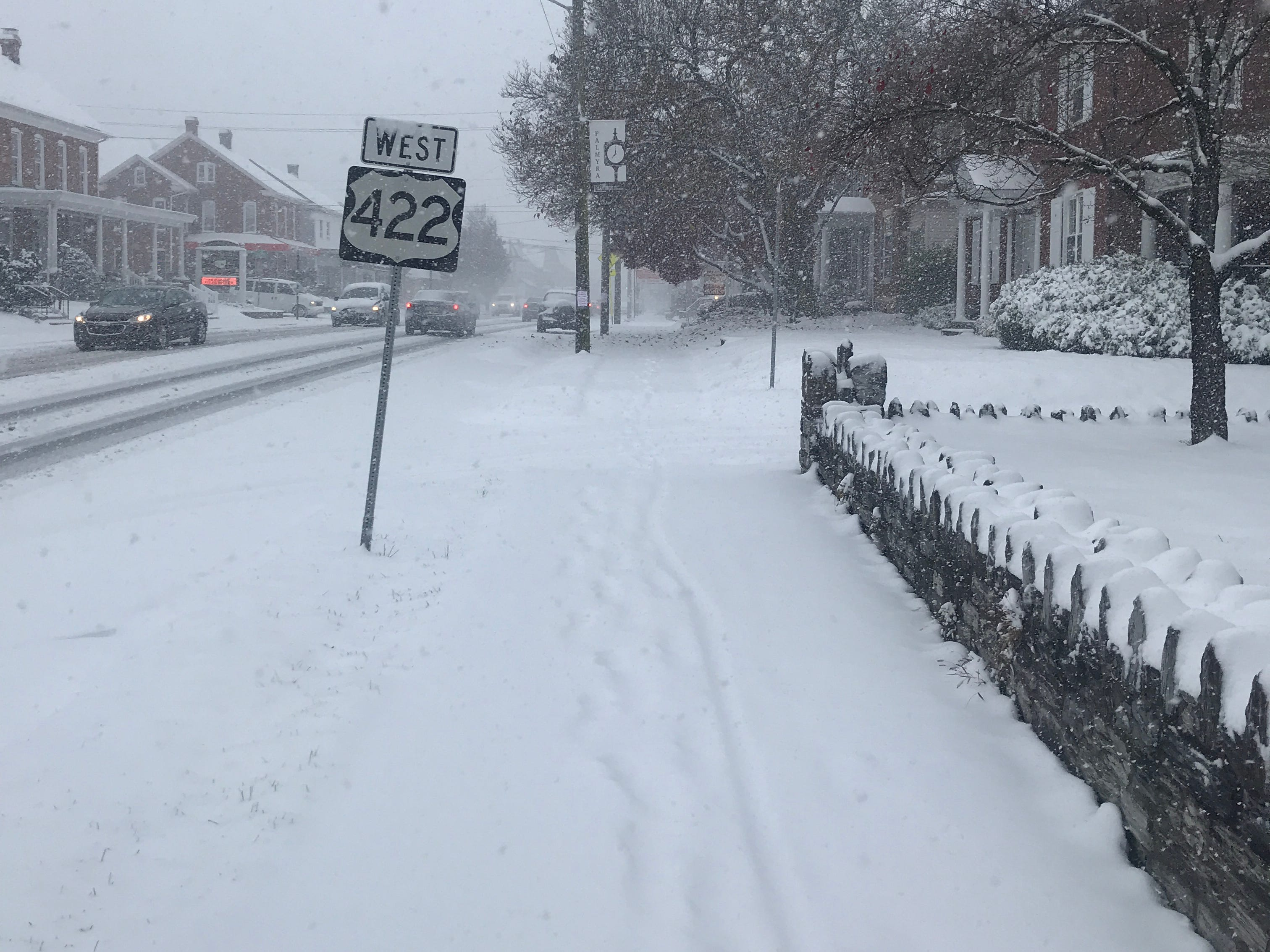 Cars were travelling slowly on Route 422 in Palmyra around 1 p.m. on Nov. 15, with about two inches of snow already on the ground.