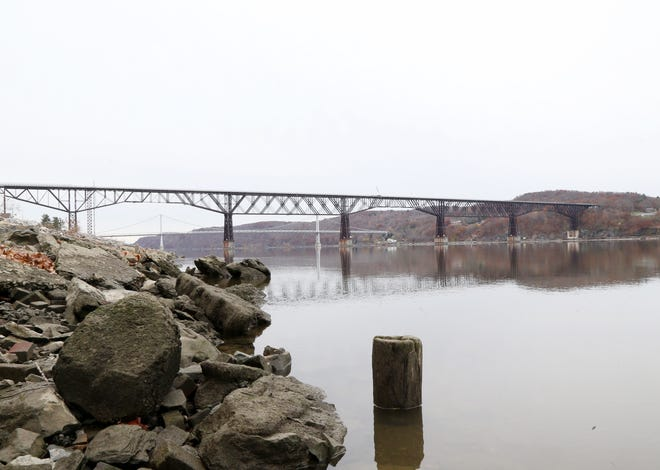 The Walkway Over the Hudson and Mid-Hudson Bridge from the Hudson River Rowing Association on November 15, 2018.
