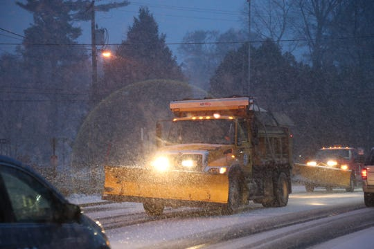 A village DPW plow moves on Route 9D in the Village of Wappingers Falls to being plowing the snow that is quickly accumulating on November 15, 2018.