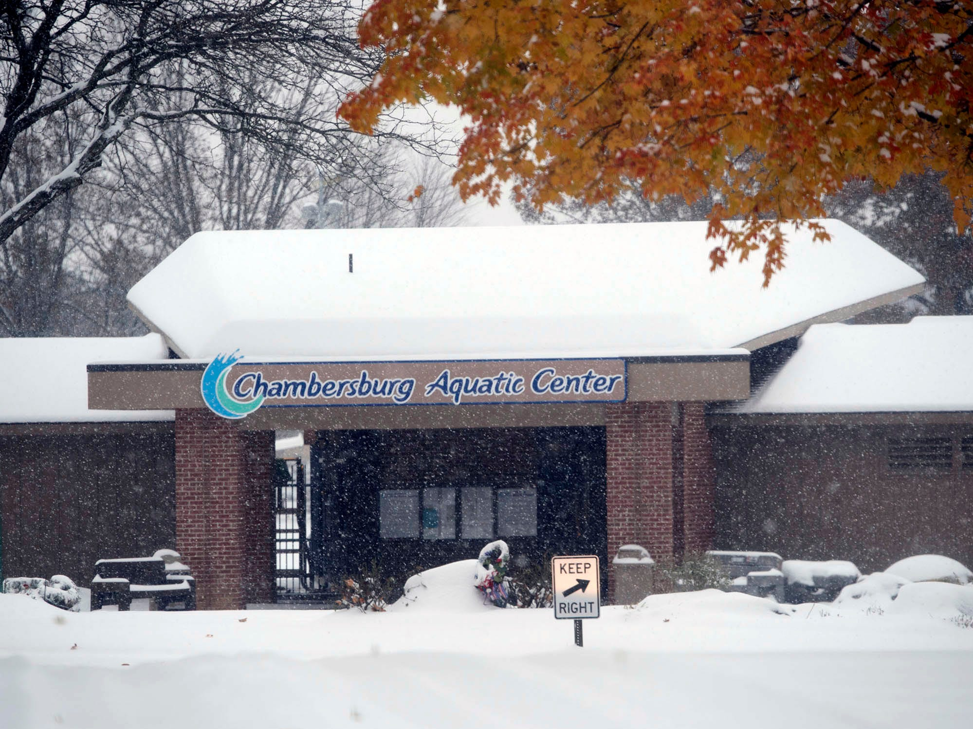 A snowy scene is captured at Chambersburg Memorial Park. A winter storm hit Franklin County on Thursday morning, November 15, 2018.
