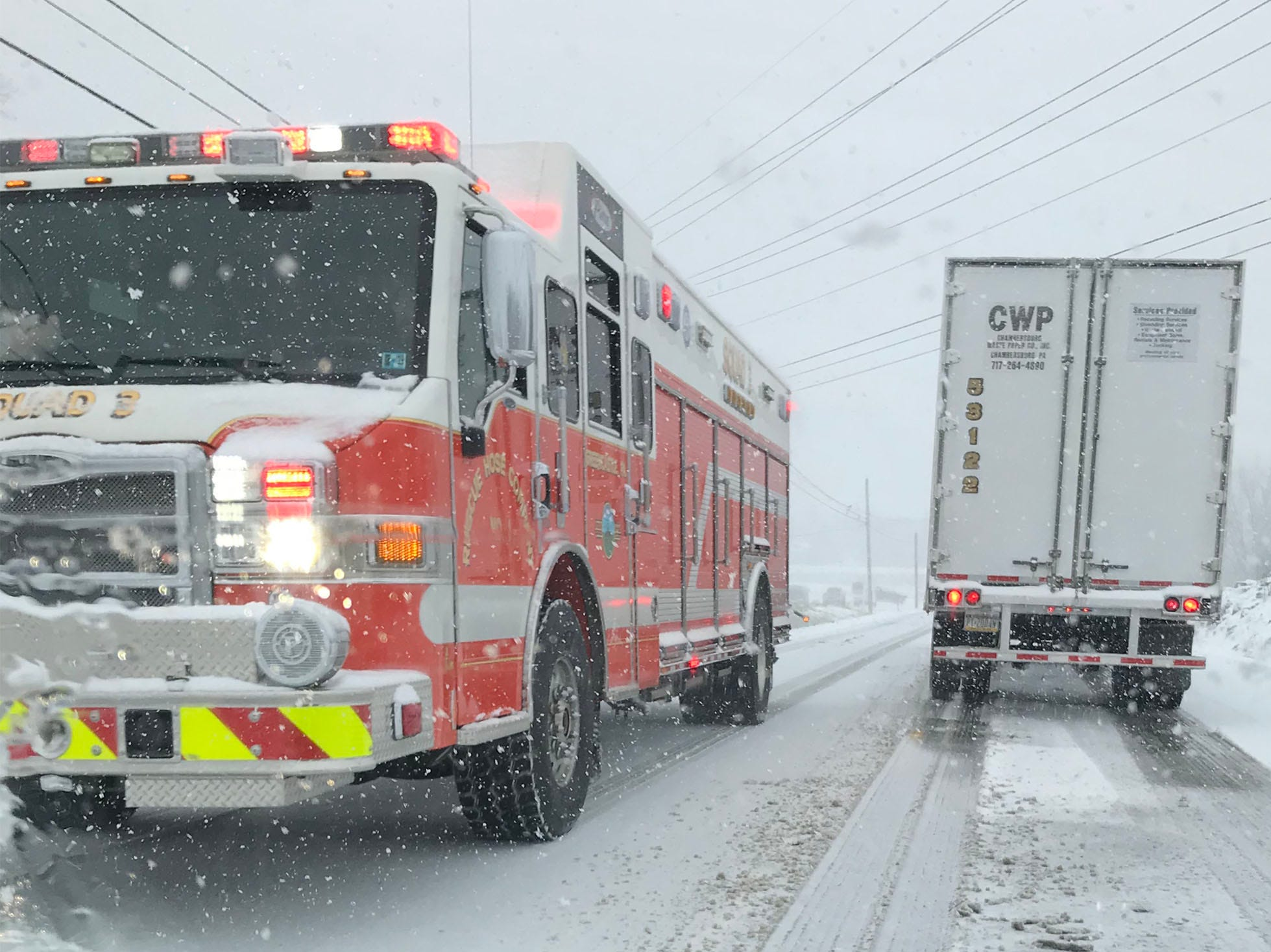 A Rescue Hose engine leaves the scene of an accident east of Pa. 16 east of Greencastle. Snow started in Franklin County on Thursday morning, November 15, 2018.