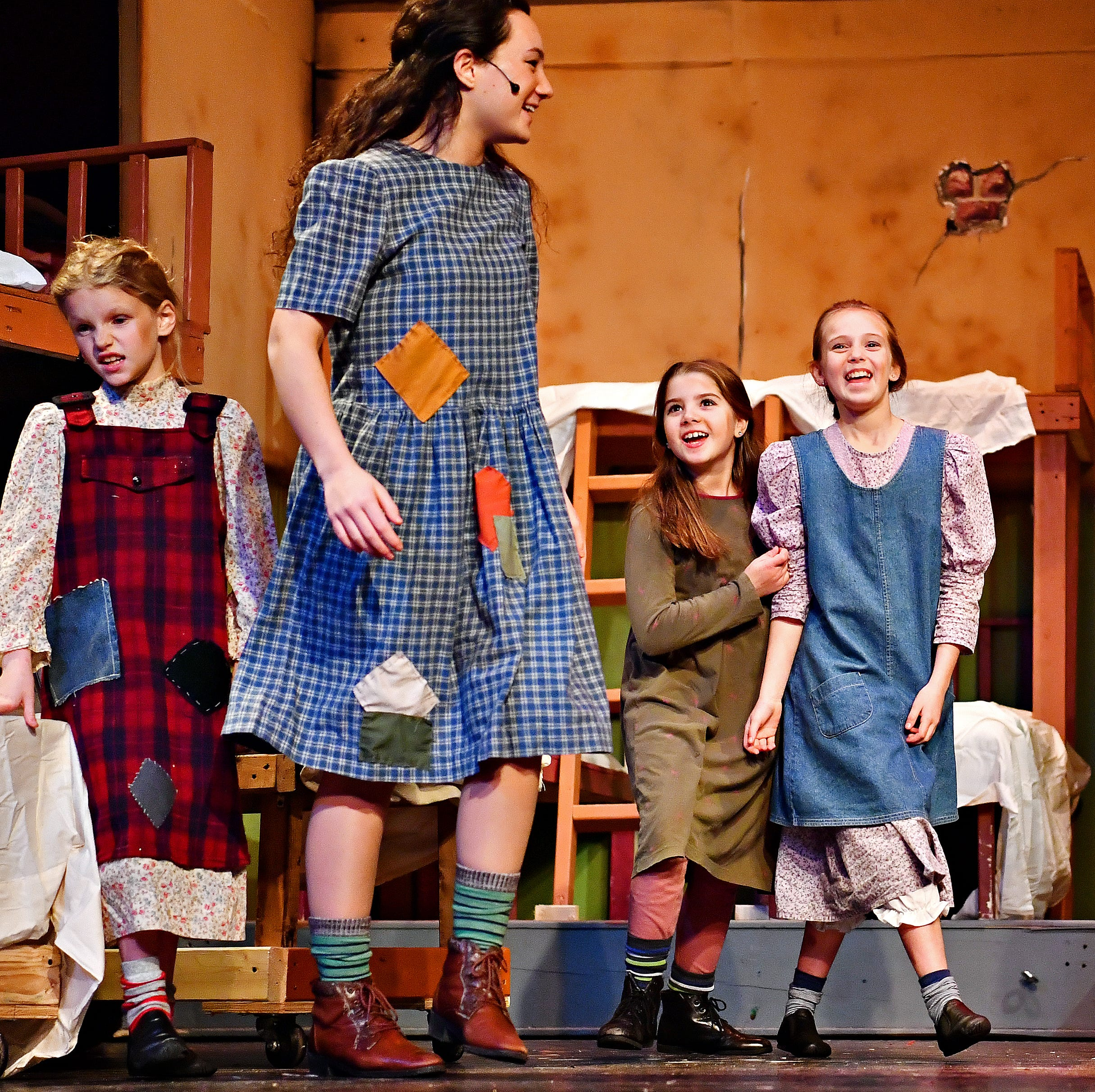 Ella Persing (Orphan), 8, second from right, of Brogue, joins other orphans during a dress rehearsal for the upcoming performance of Annie at The Belmont Theatre in Spring Garden Township, Wednesday, Nov. 14, 2018. The production runs Nov. 16-18 and 23-25 with performances on Fridays at Saturdays at 7:30 p.m., Sundays at 3 p.m., with an additional matinee performance on Saturday, Nov. 24, at 2 p.m. For more information go to: https://www.thebelmont.org/. Dawn J. Sagert photo