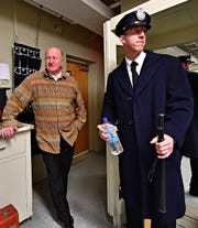 Joel Persing, 65, left, and his son Adam Persing, 35, both of Brogue, during dress rehearsal for their upcoming performance in Annie at The Belmont Theatre in Spring Garden Township, Wednesday, Nov. 14, 2018. Dawn J. Sagert photo
