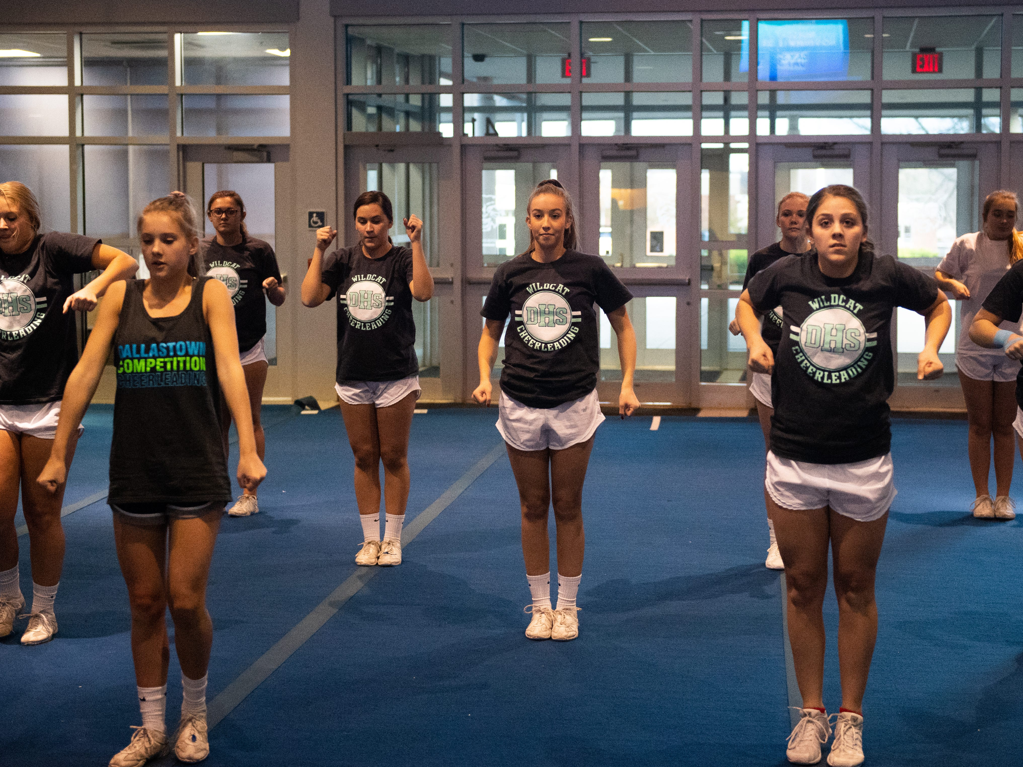 The Dallastown competitive spirit squad start their routine during practice, November 14, 2018.