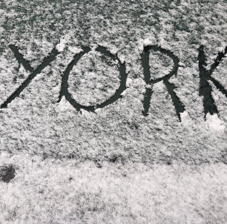 Snow falling in York County, as road conditions deteriorate