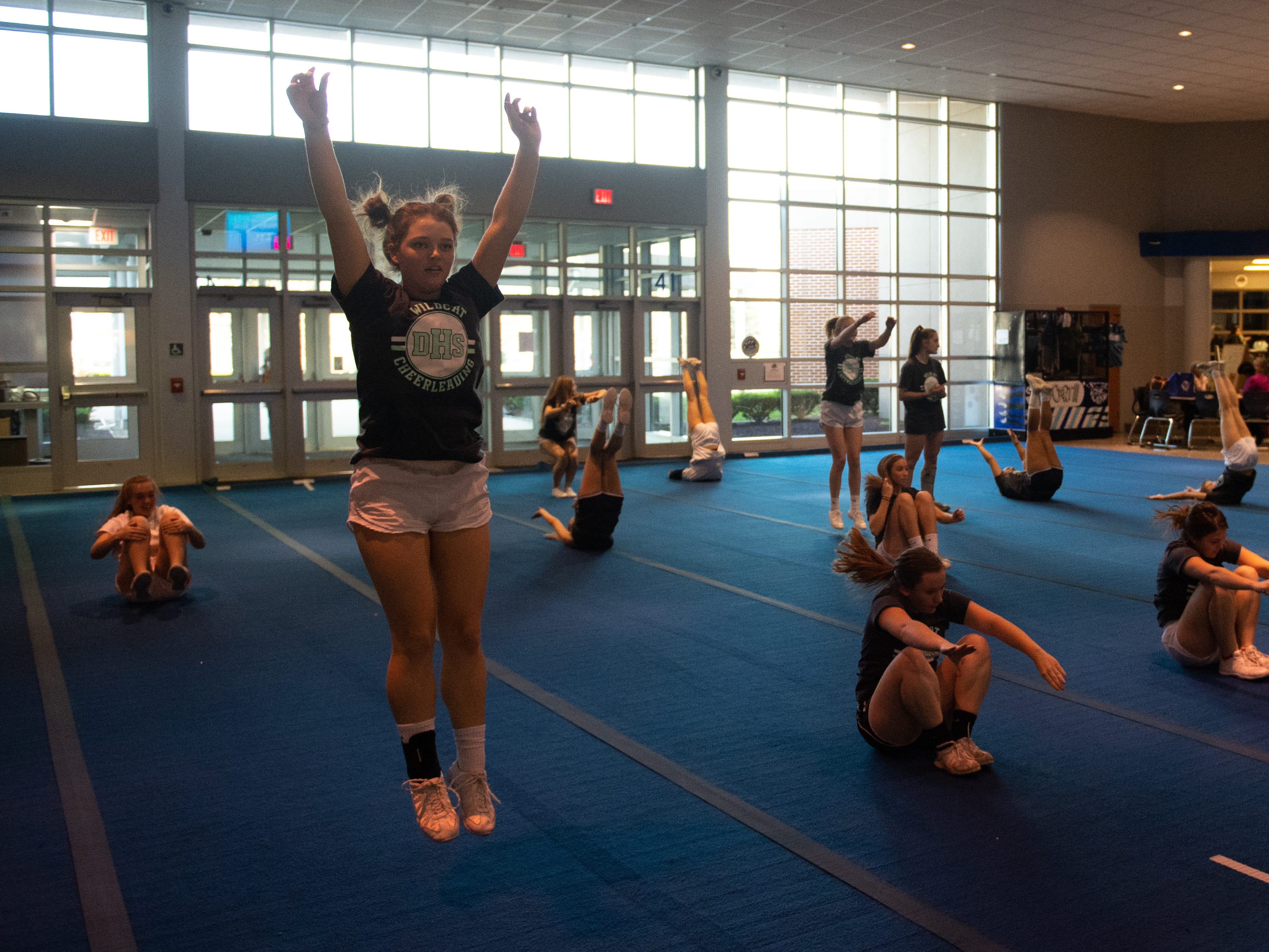 The team warms up during Dallastown's competitive spirit practice, November 14, 2018.