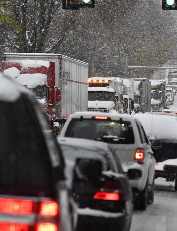 Traffic was snarled in spots around York County during Thursday's snowstorm. This scene is from North George Street in Manchester Township.