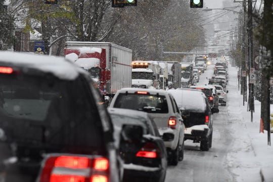 Traffic was snarled in spots around York County during the Nov. 15, 2018 snowstorm. This scene is from North George Street in Manchester Township.