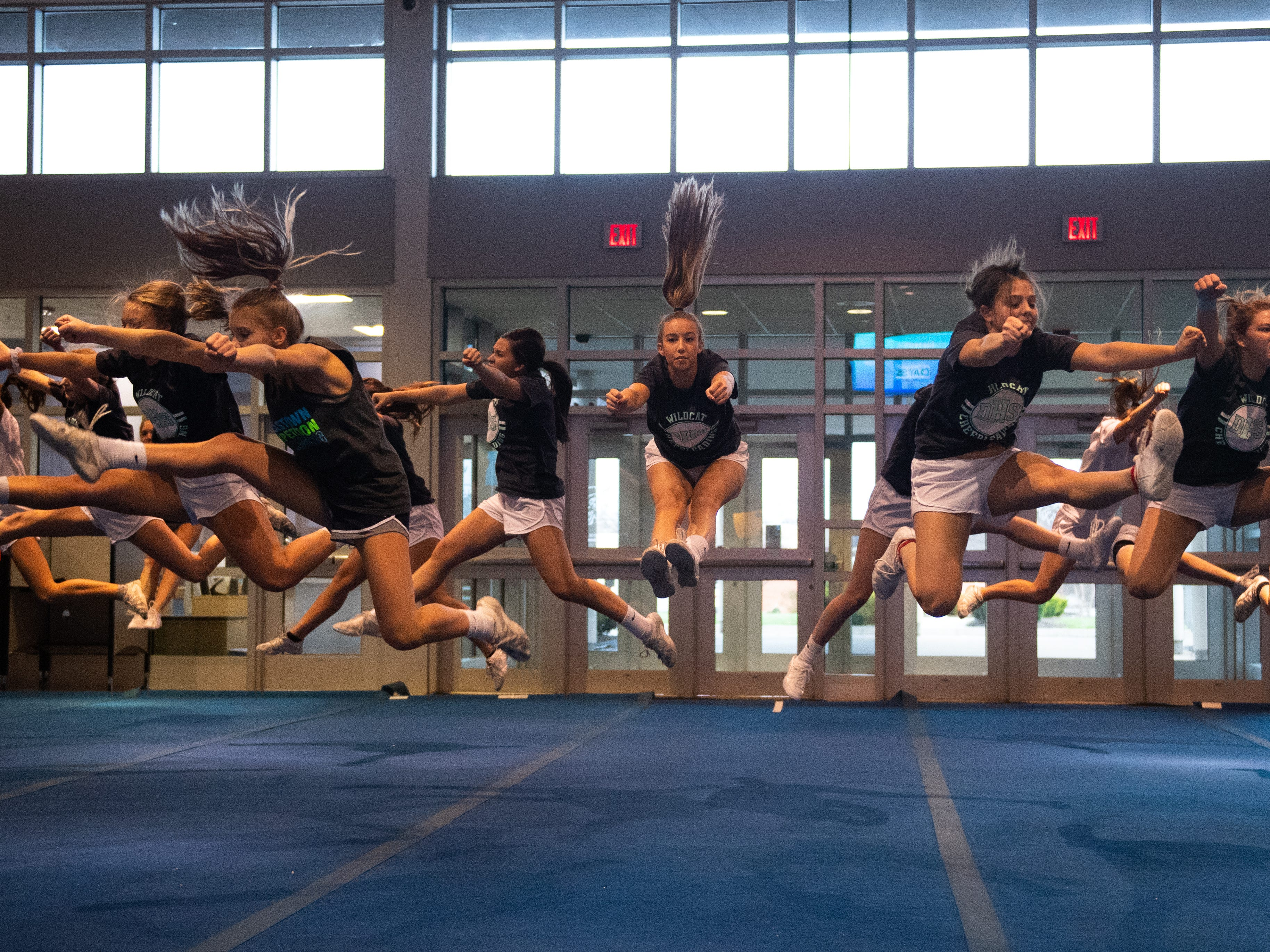 The team jumps together during Dallastown's competitive spirit practice, November 14, 2018.