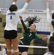 Damonte's Cristen McCalden get the ball past Reno's Kaitlynn Biassou during the regional volleyball semifinals at Spanish Springs High School on Nov. 1, 2018.