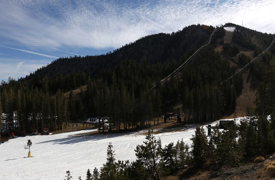 Man made snow is seen at Mt. Rose Ski Tahoe on Nov. 15, 2018.