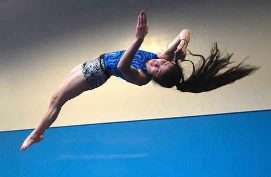 Malia Hargrove performs a maneuver during a practice session at Flips USA Gymnastics in Sparks in 2017.