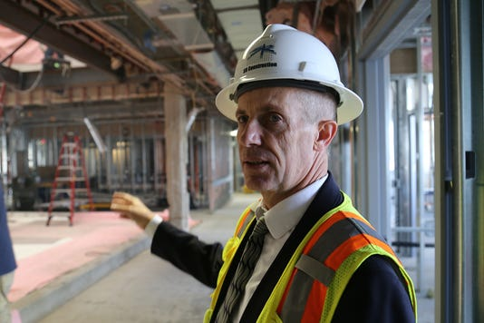 CEO Alan Olive shows construction work being done at Northern Nevada Medical Center on Aug. 15, 2018. The hospital is in the midst of a multi-million dollar expansion.