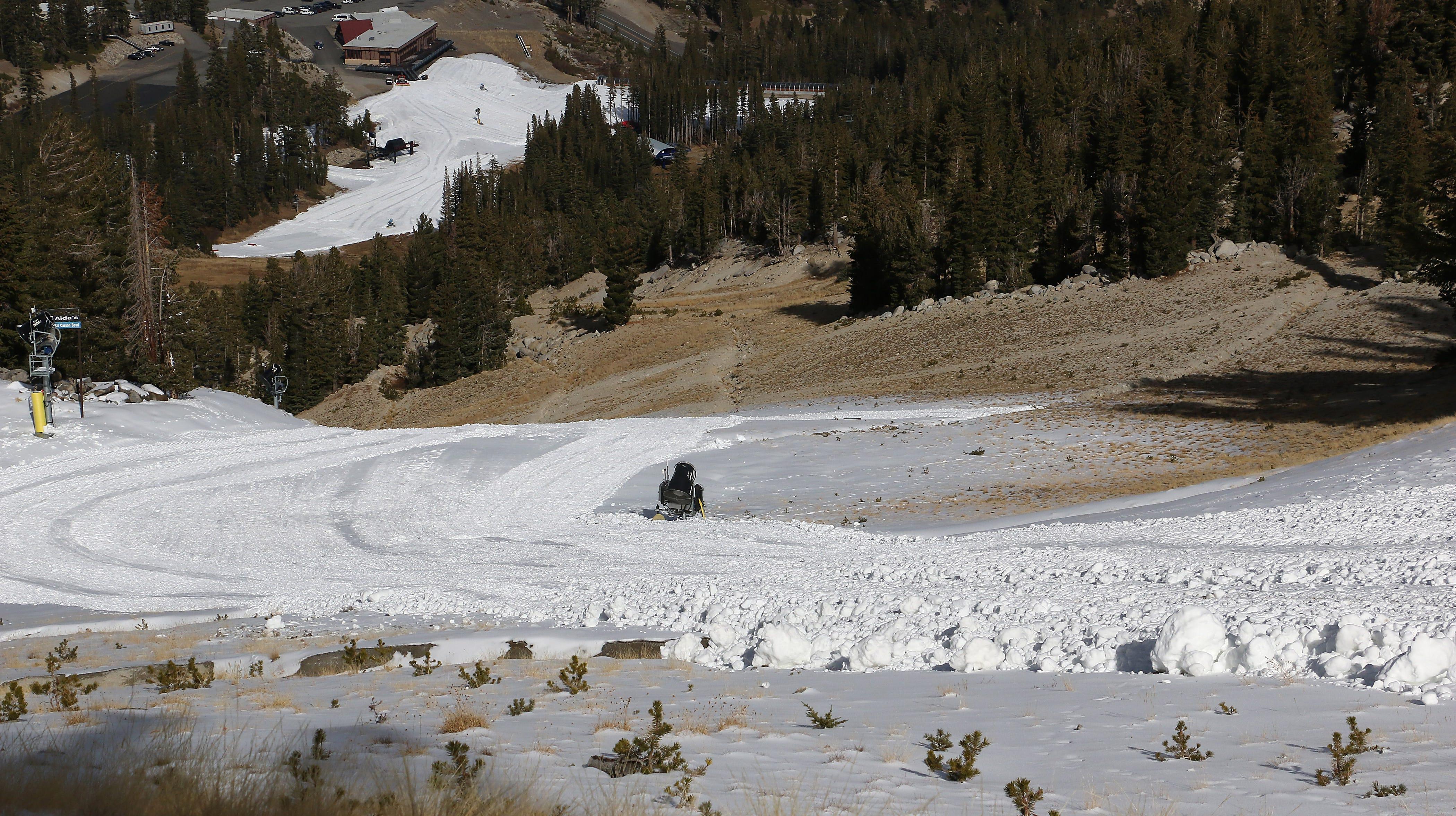 snowmaking upgrades help tahoe resorts despite warm, dry conditions