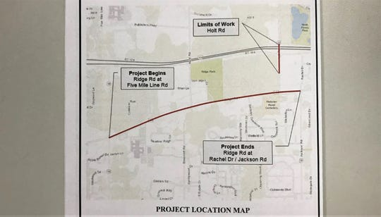 An illustration of the Ridge Road Multi-Modal Corridor Project shows what areas will be affected by the construction.
