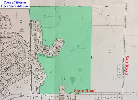 The town of Webster announced that it acquired 84 acres of open space for residents on Wednesday, Nov. 14, 2018. The land is located near the corner of Salt and State Roads, and is heavily wooded with mature trees and wetlands.