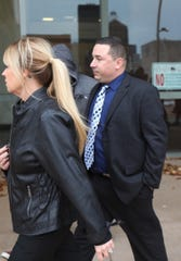 Rochester Police Officer Michael Sippel leaves city court after he pleaded not guilty to the third-degree assault, a misdemeanor.  He allegedly assaulted Christopher Pate during an arrest in May 2018.  Pate's charges of resisting arrest were dismissed.