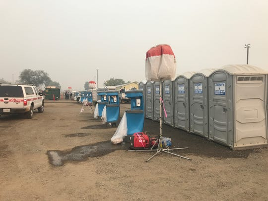 These Johnny on the Spot portable toilets are at the Silver Dollar Fairgrounds in Chico, the site of the incident command center for the Camp Fire. The deadly blaze broke out on Nov. 8, 2018.