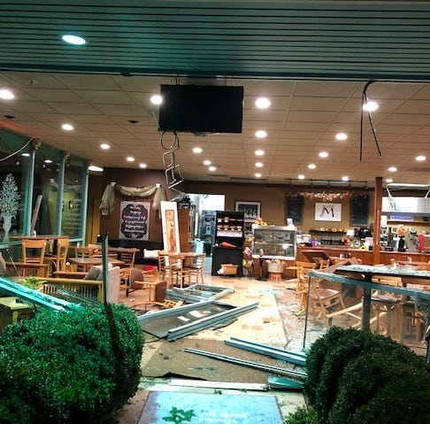 Driver crashes into Salem cafe, steals money and drives off