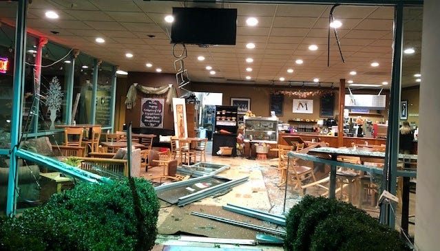 A driver crashed into Salem's Mill Creek Station & Catering Wednesday morning causing substantial damage before fleeing.
