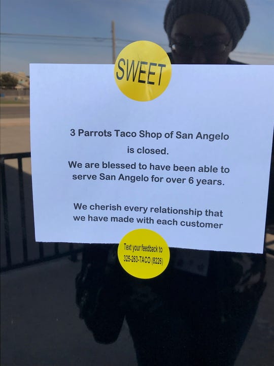 A sign greets customers with the news of 3 Parrots Taco Shop's closure on Thursday, Nov. 15, 2018. The business was open for 6 years.